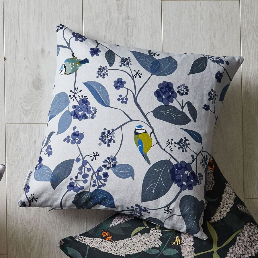 Lorna Syson blue tit cushion