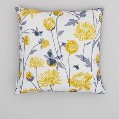 Chrysanthemum cushion with bee designed by lorna syson