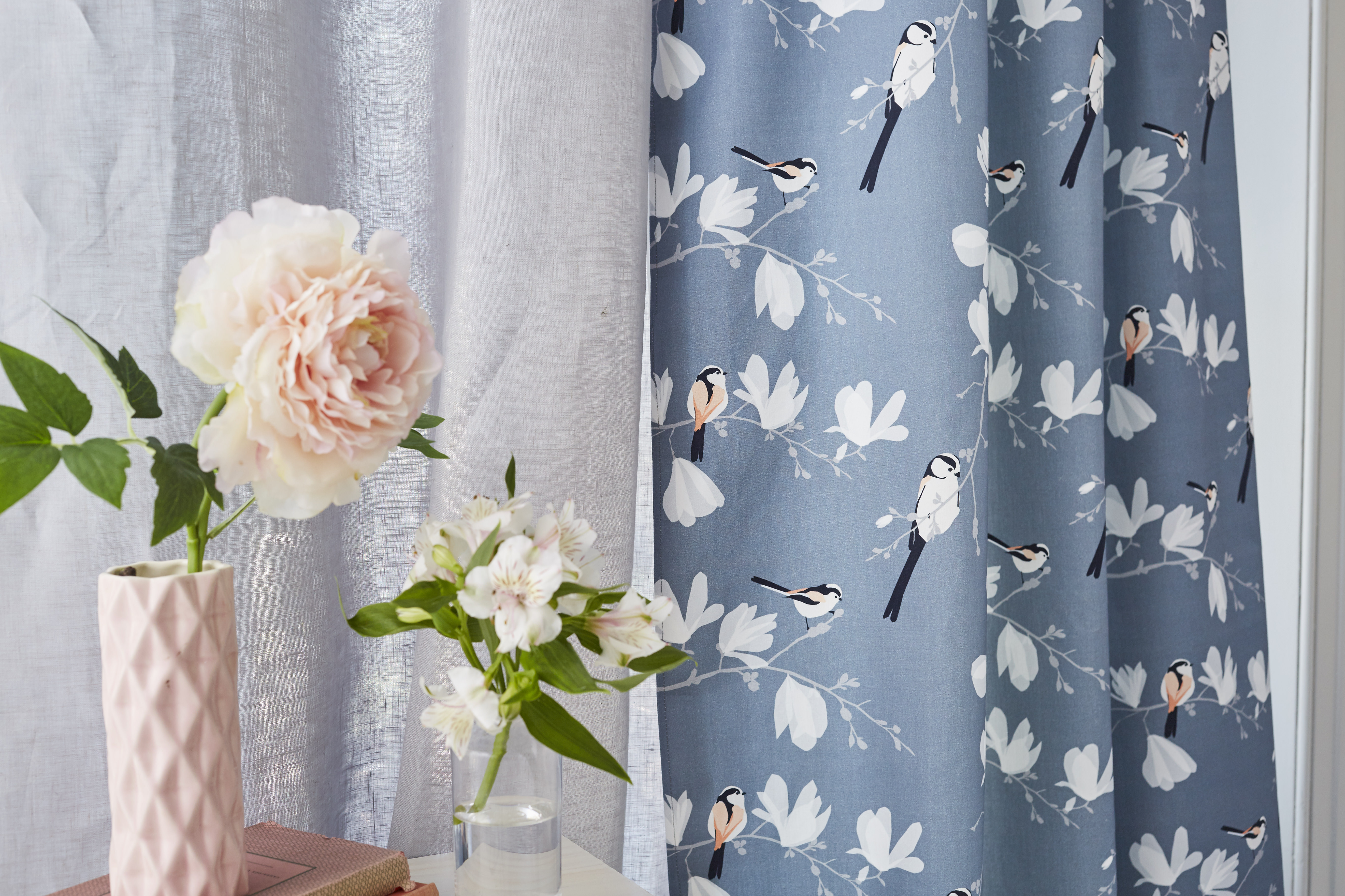 long tailed tit fabric