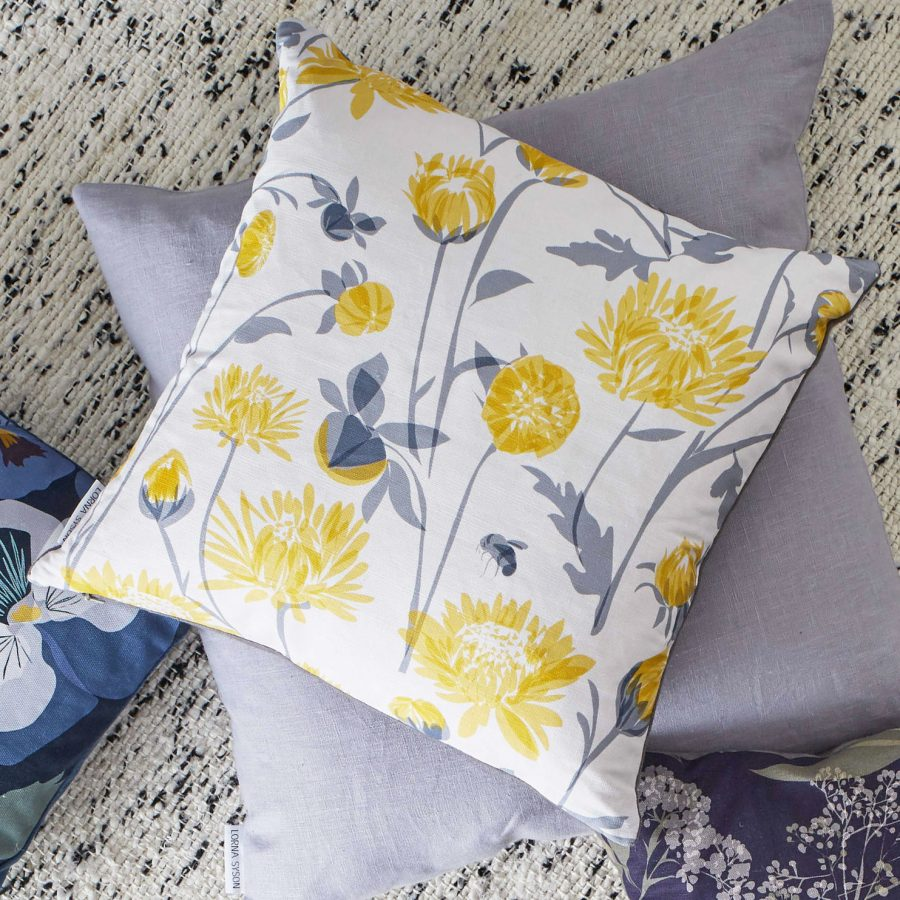 Chrysanthemum cushion by lorna syson