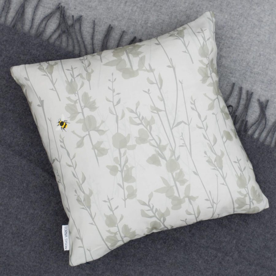 broom and bee dusk cushion by Lorna Syson