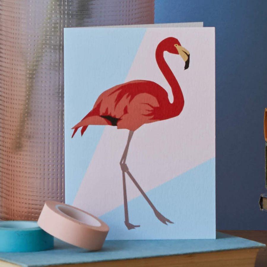 flamingo card by lorna syson