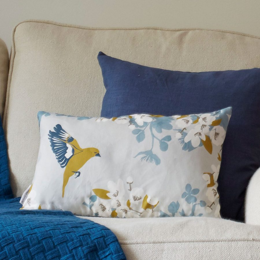 greenfinch cushion by lorna syson