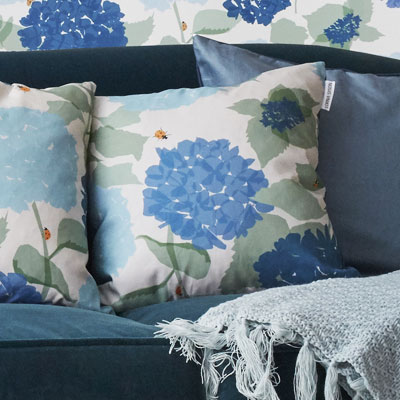 hydrangea cushion by lorna syson