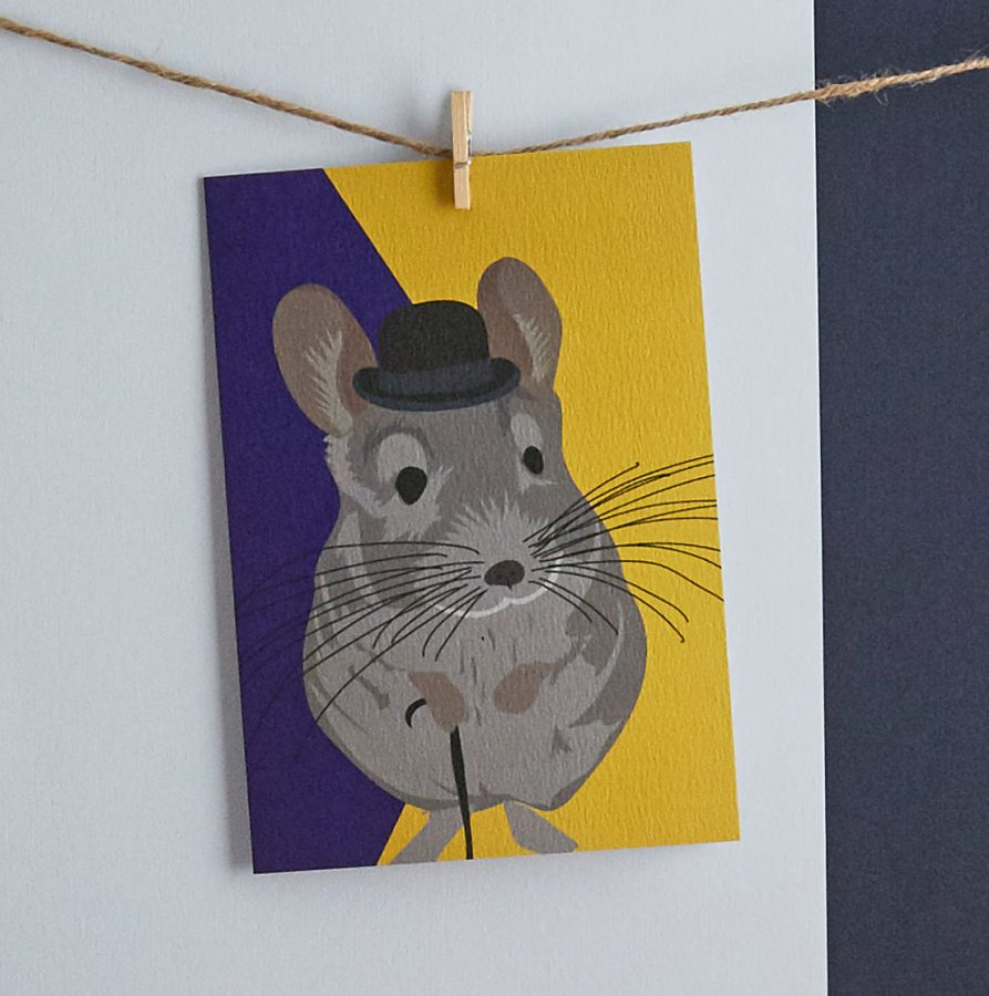 jeeves chinchilla greetings card by lorna syson stationery