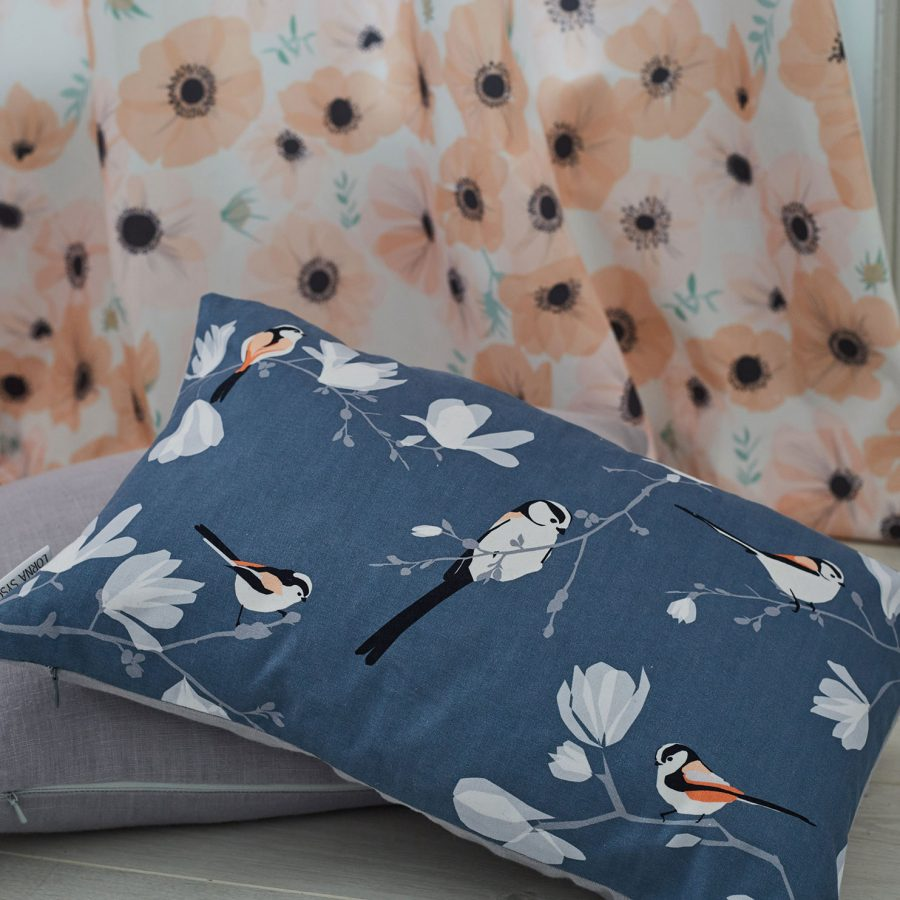 long tailed tit cushion by Lorna Syson
