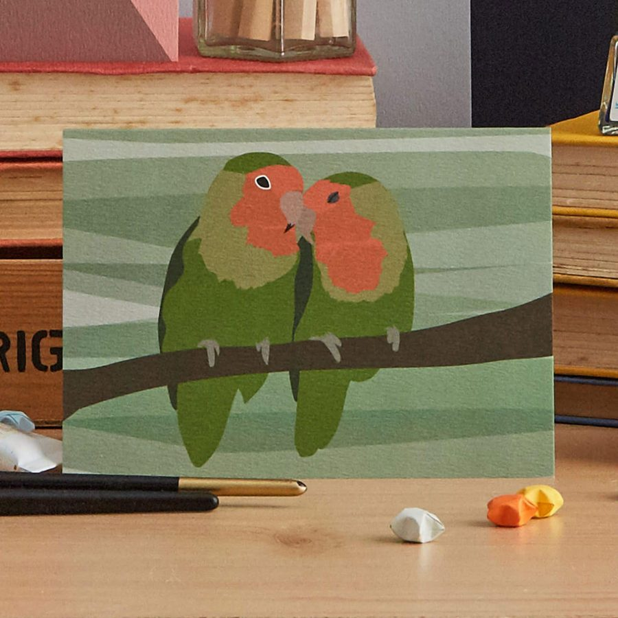 love birds wedding and anniversary card by lorna syson