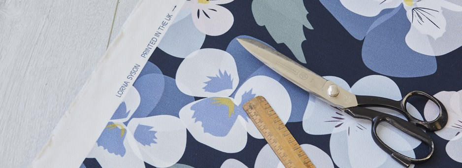 pansy fabric by the metre by lorna syson