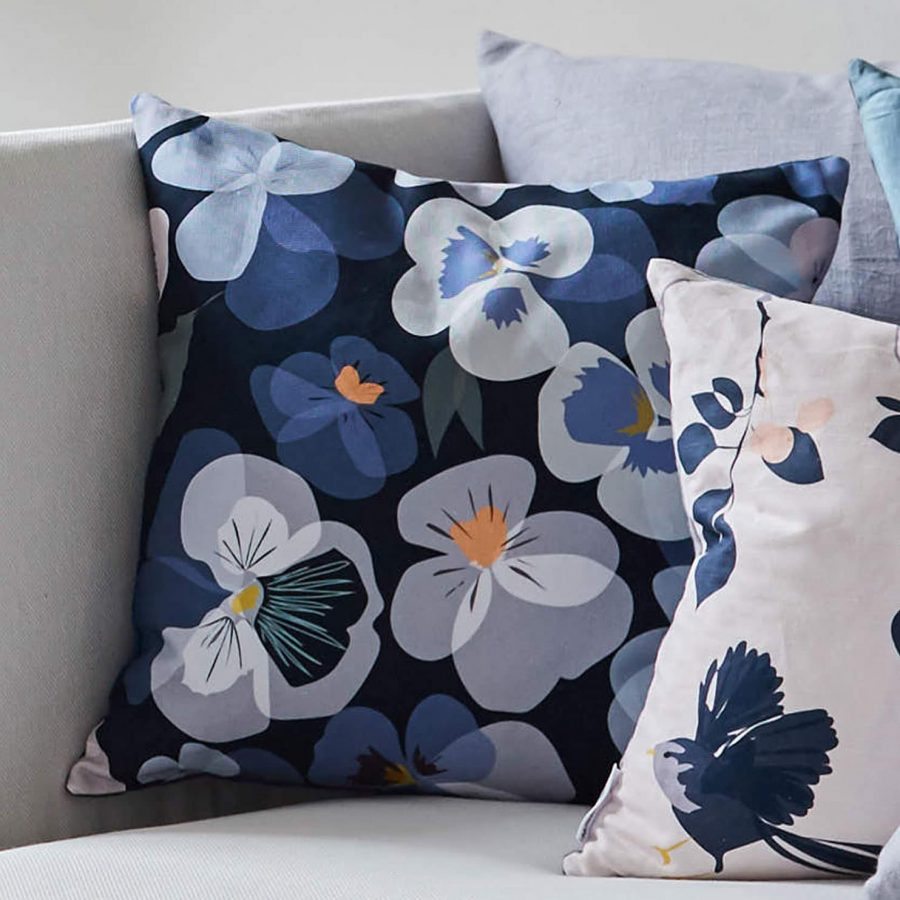 pansy cushion by lorna syson