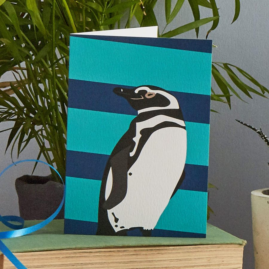 patrick the penguin greetings card designed by lorna syson