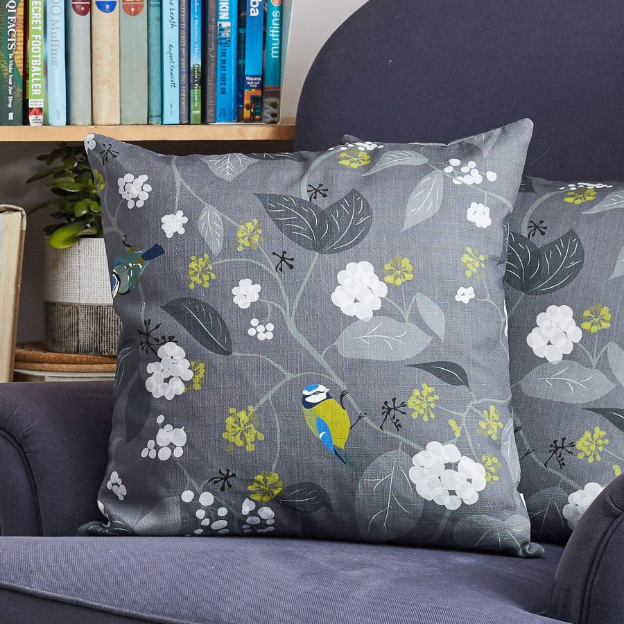 Spring Ivy slate cushion by Lorna Syson