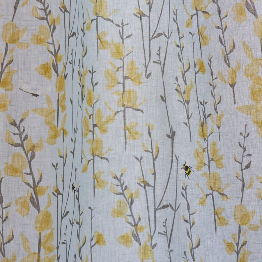 Lorna Syson Broom and bee Sky fabric