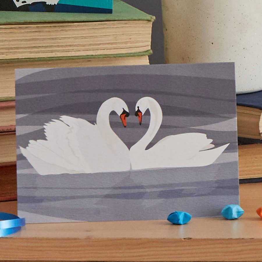swans greeting card designed by Lorna Syson