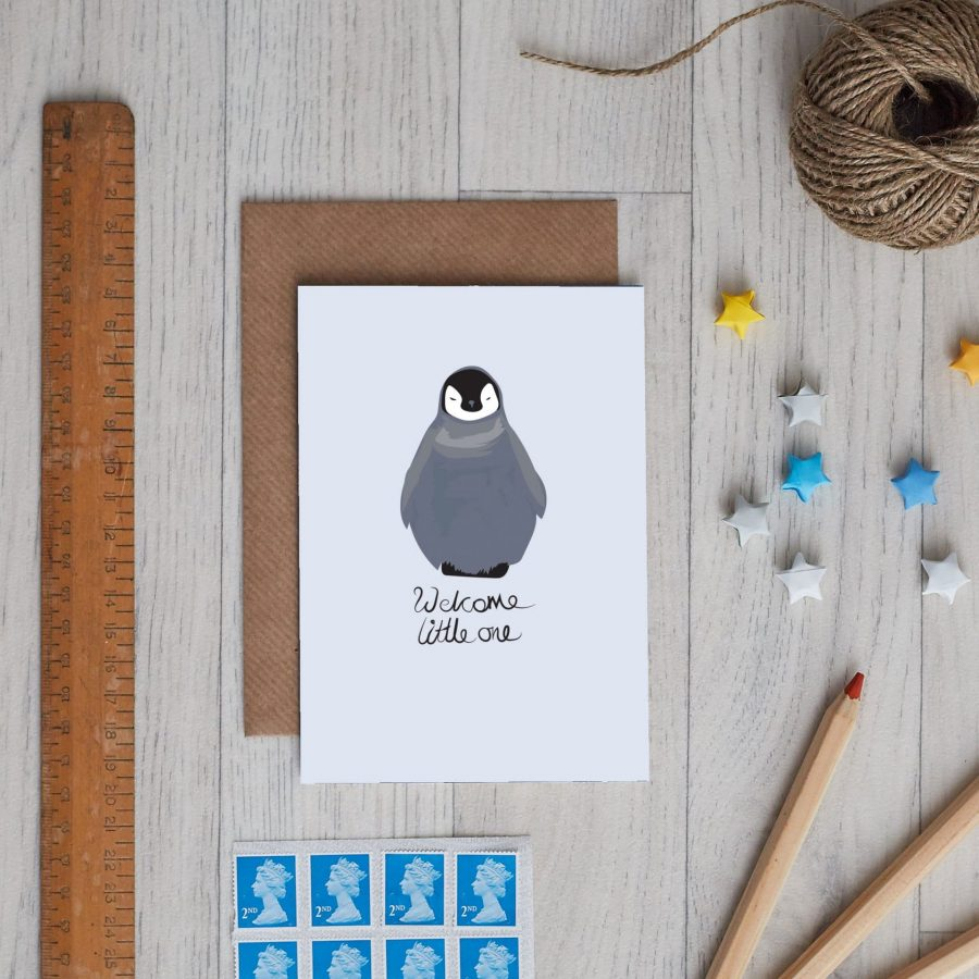 Thea the penguin new baby greeting card
