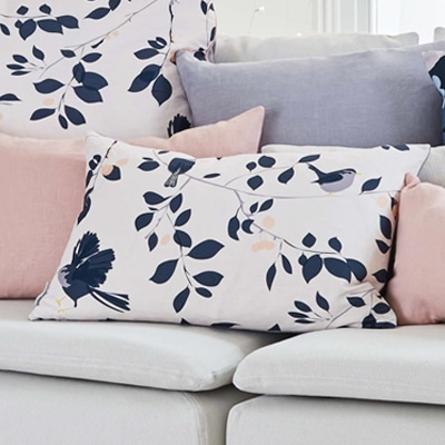lorna syson wren and cherry cushion feature