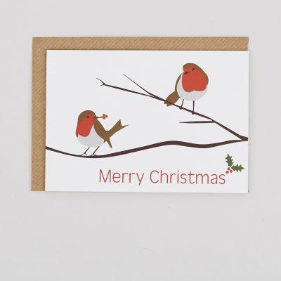 Double Robin Christmas Card