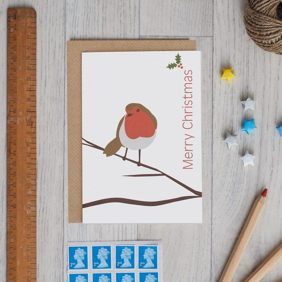Single Robin Card by Lorna Syson, Christmas card design