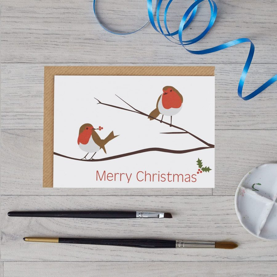 Lorna Syson Christmas card with robin design