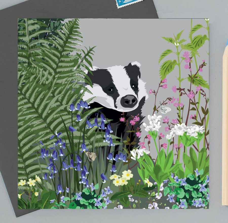 Greetings Card Luxury Designer Personalised Message Sustainable Environmentally Friendly FSC Paper Plastic Free - badger woodland