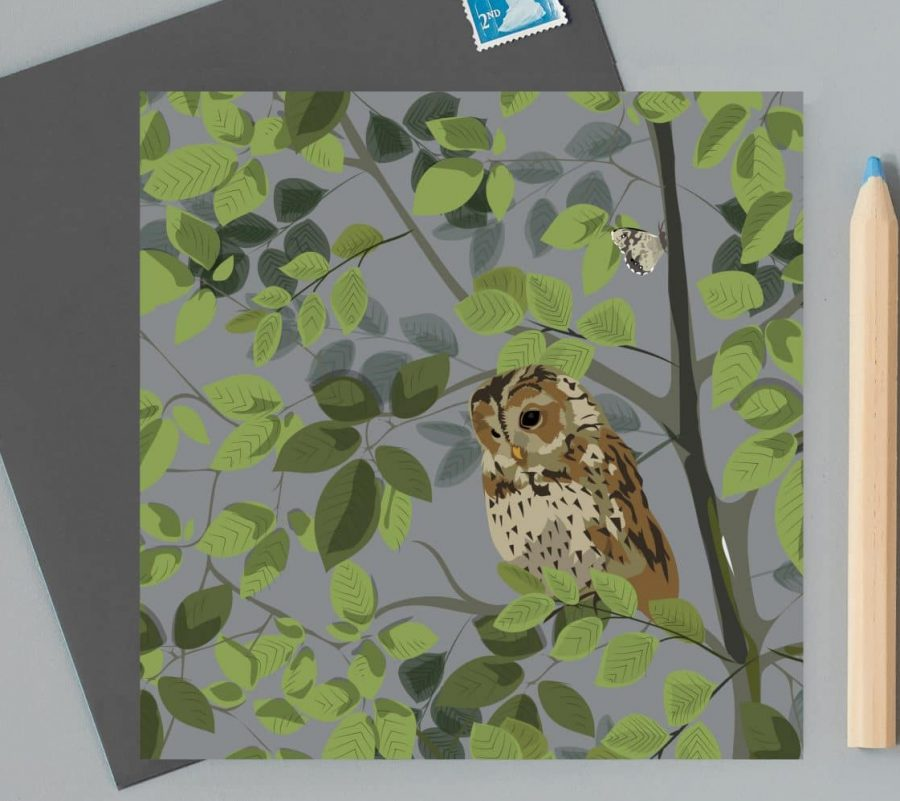 Greetings Card Luxury Designer Personalised Message Sustainable Environmentally Friendly FSC Paper Plastic Free - owl