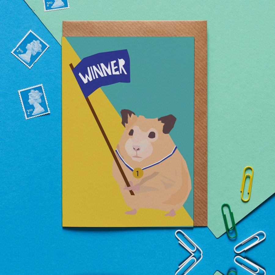 Harry the hamster greeting card design be a winner card