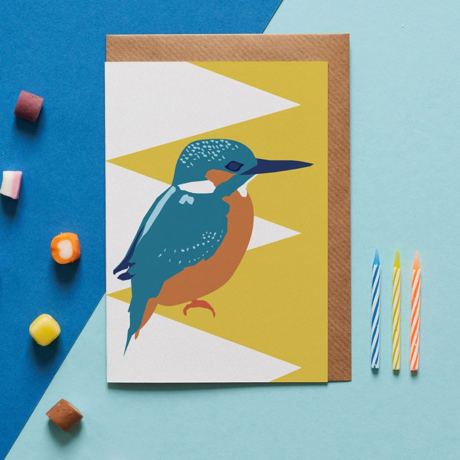 kingsley the kingfisher card designed by Lorna Syson