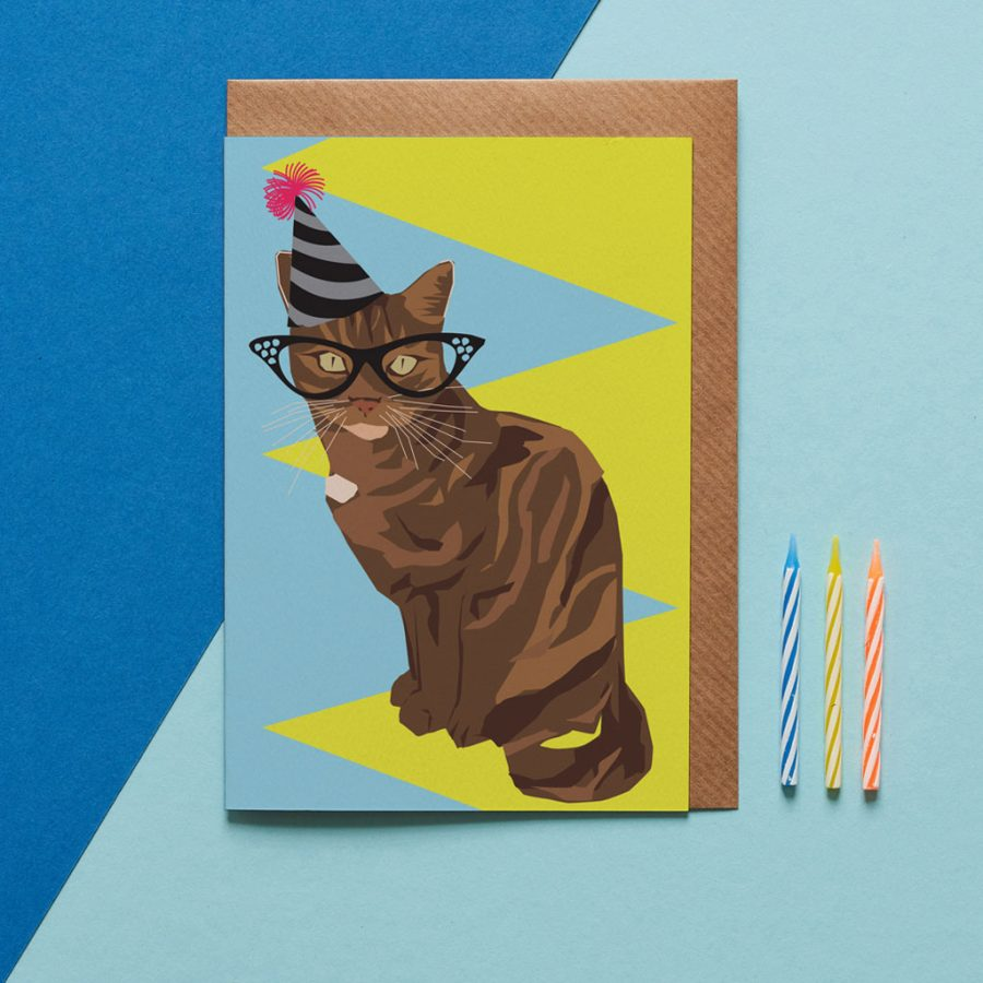 Greetings Card Luxury Designer Personalised Message Sustainable Environmentally Friendly FSC Paper Plastic Free - birthday cat