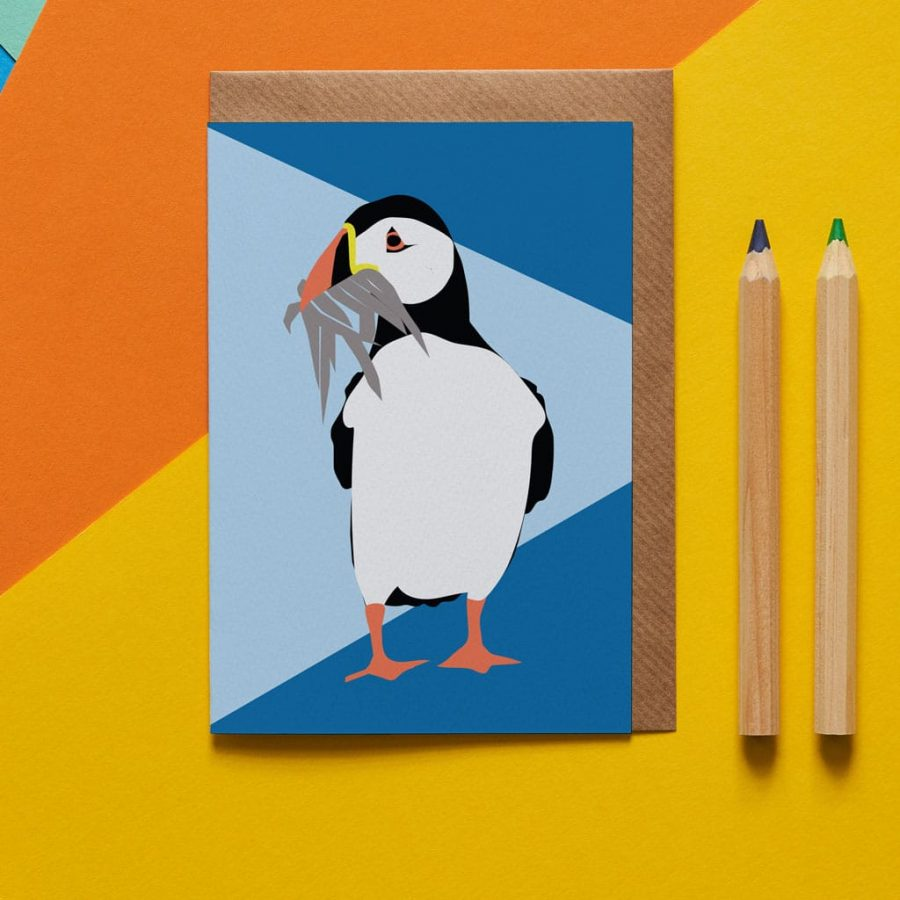 Greetings Card Luxury Designer Personalised Message Sustainable Environmentally Friendly FSC Paper Plastic Free - percy the puffin greeting card designed by Lorna Syson