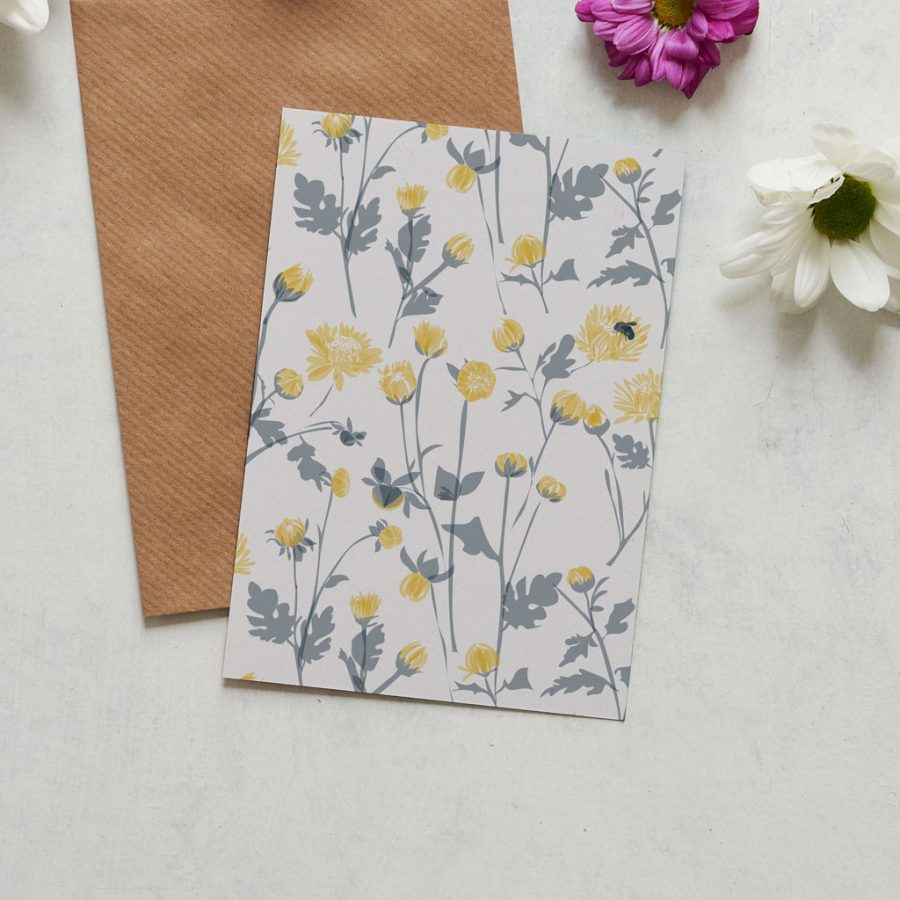 Greetings Card Luxury Designer Personalised Message Sustainable Environmentally Friendly FSC Paper Plastic Free Chrysanthemum greeting card designed by Lorna Syson