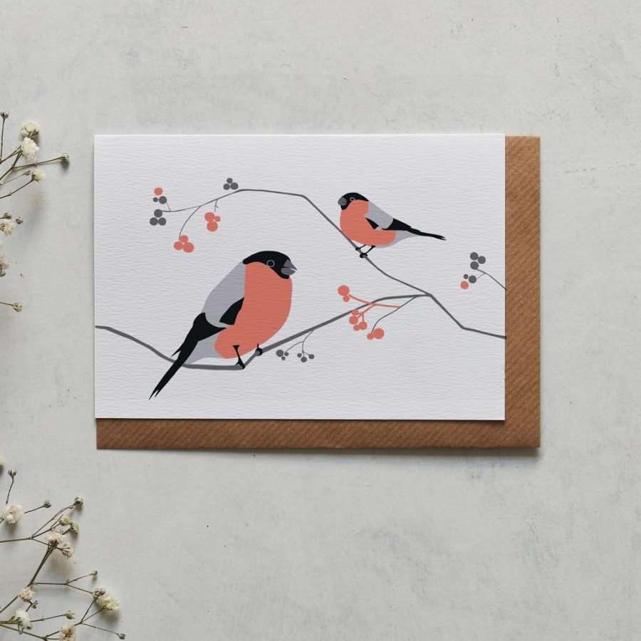 Bullfinch greeting card designed by Lorna Syson