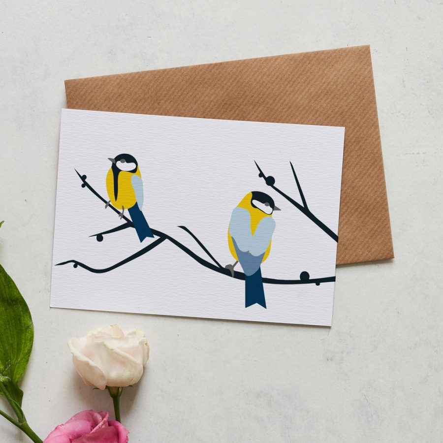 Greetings Card Luxury Designer Personalised Message Sustainable Environmentally Friendly FSC Paper Plastic Free Juneberry and Bird greeting card designed by Lorna Syson