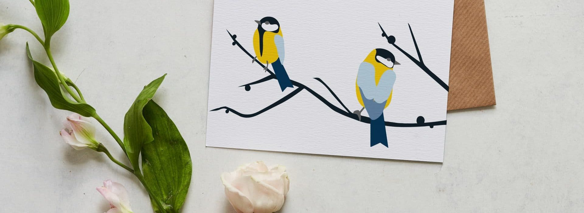 Juneberry and Bird greeting card designed by Lorna Syson