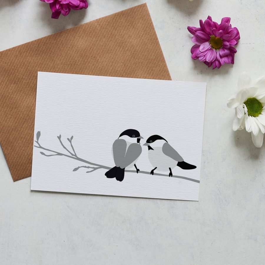 Greetings Card Luxury Designer Personalised Message Sustainable Environmentally Friendly FSC Paper Plastic Free -Willow tit greeting card designed by Lorna Syson