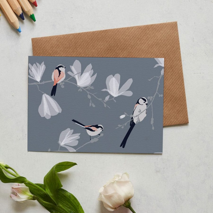 Greetings Card Luxury Designer Personalised Message Sustainable Environmentally Friendly FSC Paper Plastic Free long tailed tit greeting card designed by Lorna Syson