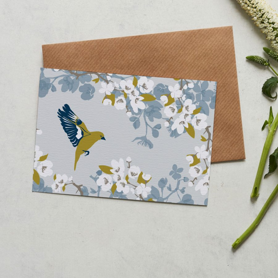 Greenfinch card designed by Lorna Syson