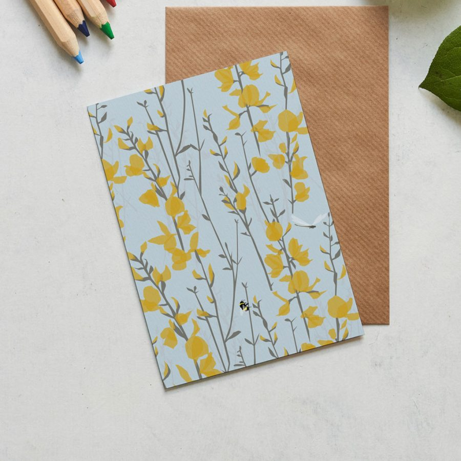 Broom and Bee sky greeting card