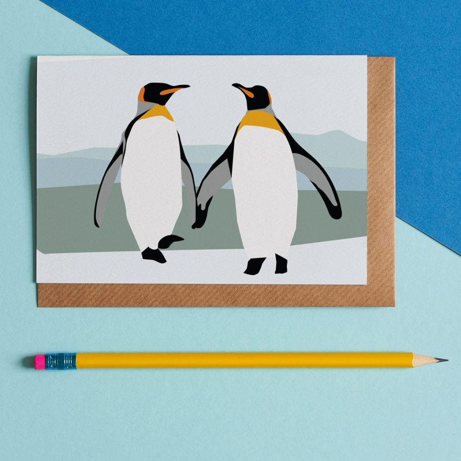 Greetings Card Luxury Designer Personalised Message Sustainable Environmentally Friendly FSC Paper Plastic Free - peter and paul the penguins designed by Lorna Syson