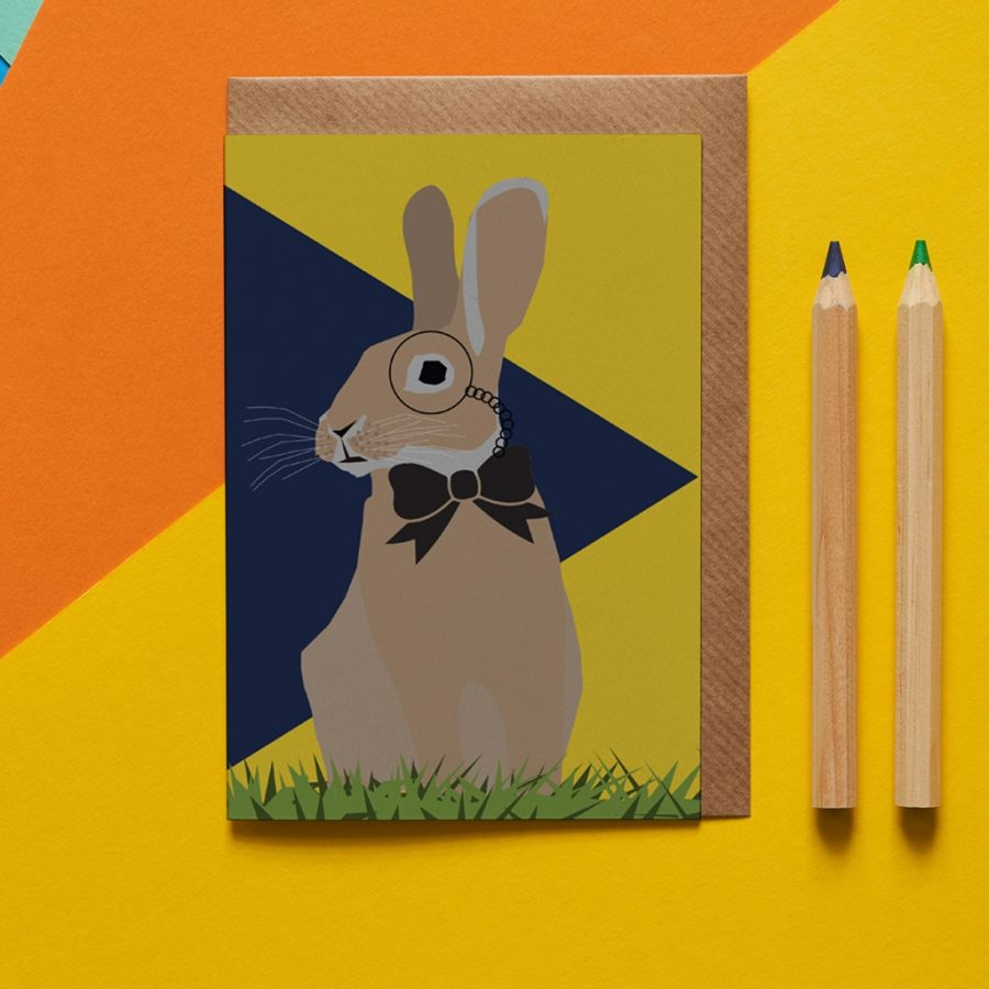 Greetings Card Luxury Designer Personalised Message Sustainable Environmentally Friendly FSC Paper Plastic Free - rabbit card