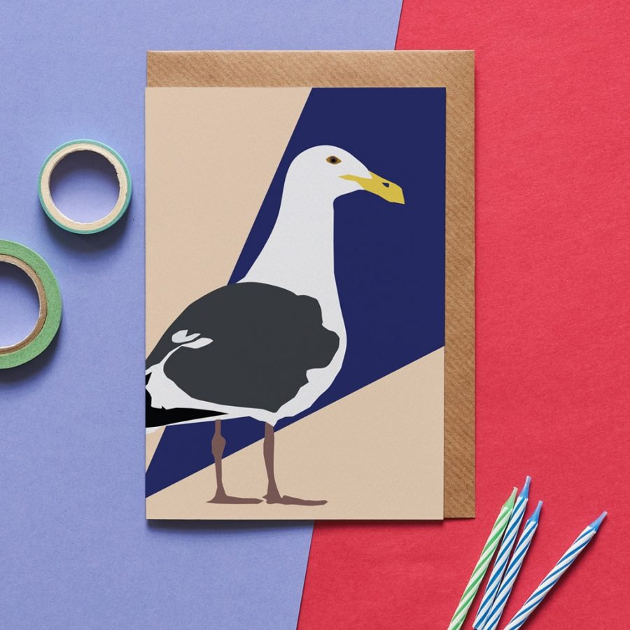 sammy the seagull greeting card designed by Lorna Syson