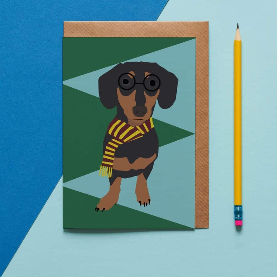 Greetings Card Luxury Designer Personalised Message Sustainable Environmentally Friendly FSC Paper Plastic Free - sausage dog