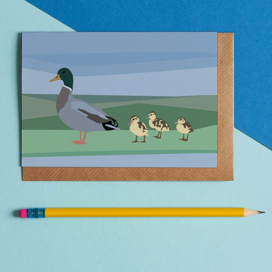 Greetings Card Luxury Designer Personalised Message Sustainable Environmentally Friendly FSC Paper Plastic Free - duck family illustration by Lorna Syson