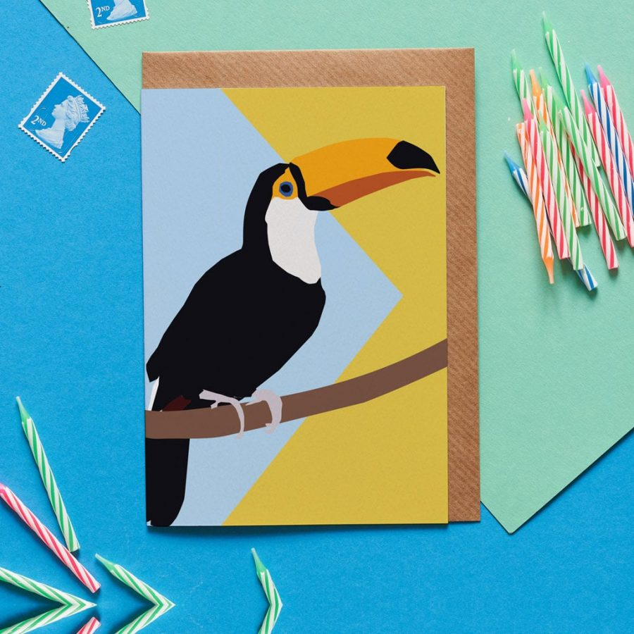 Greetings Card Luxury Designer Personalised Message Sustainable Environmentally Friendly FSC Paper Plastic Free - Thomas the Toucan greeting card designed by Lorna Syson