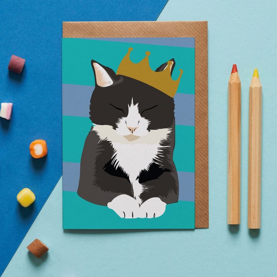 bruce the cat card wearing a crown designed by Lorna Syson