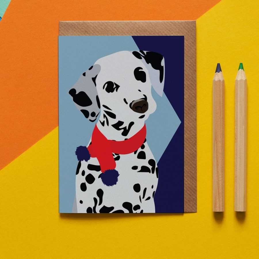 dotty the dalmatian wearing a scarf designed by Lorna Syson