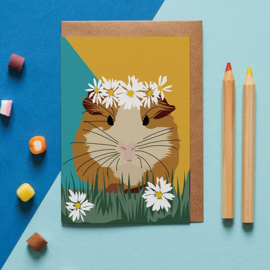 honey the guinea pig card wearing by a flower crown designed by Lorna Syson