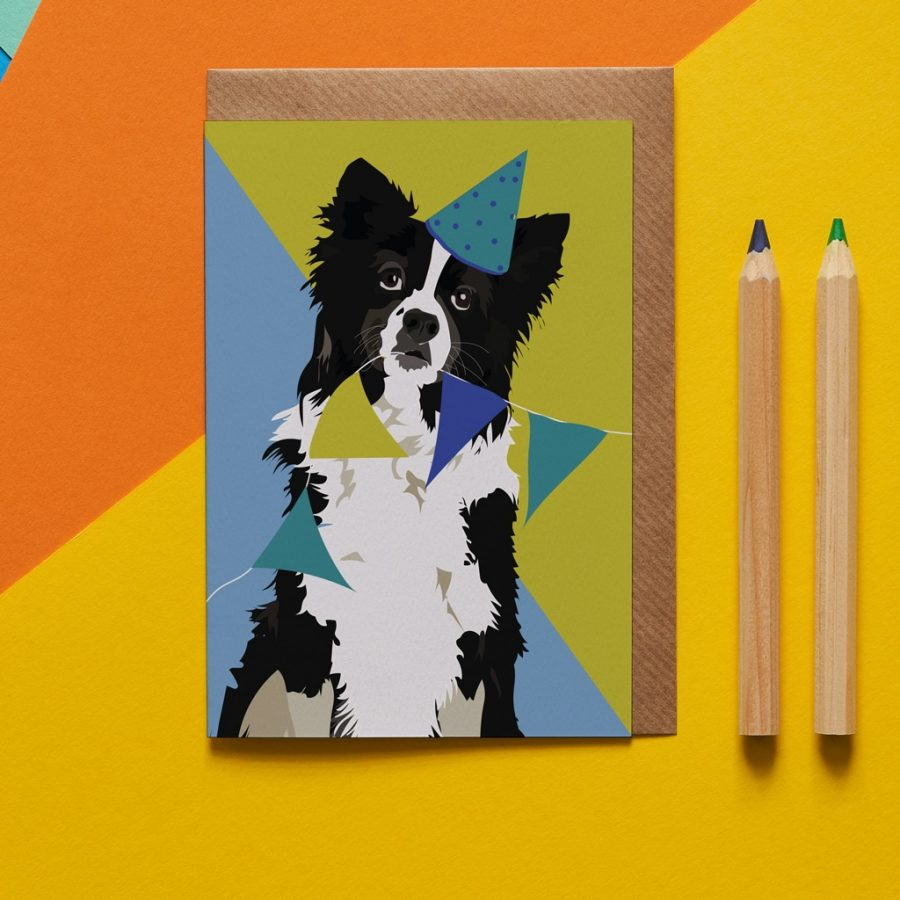 Border collie illustrated dog card designed by Lorna Syson