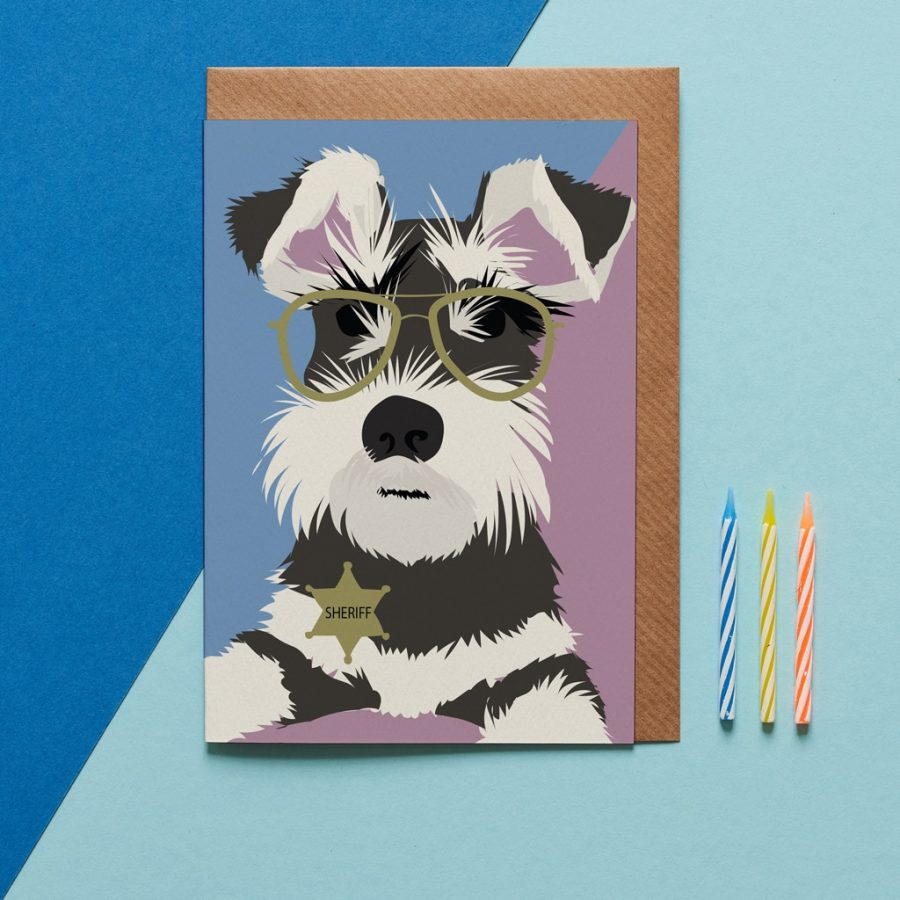 Monty the schnauzer greeting card designed by Lorna Syson