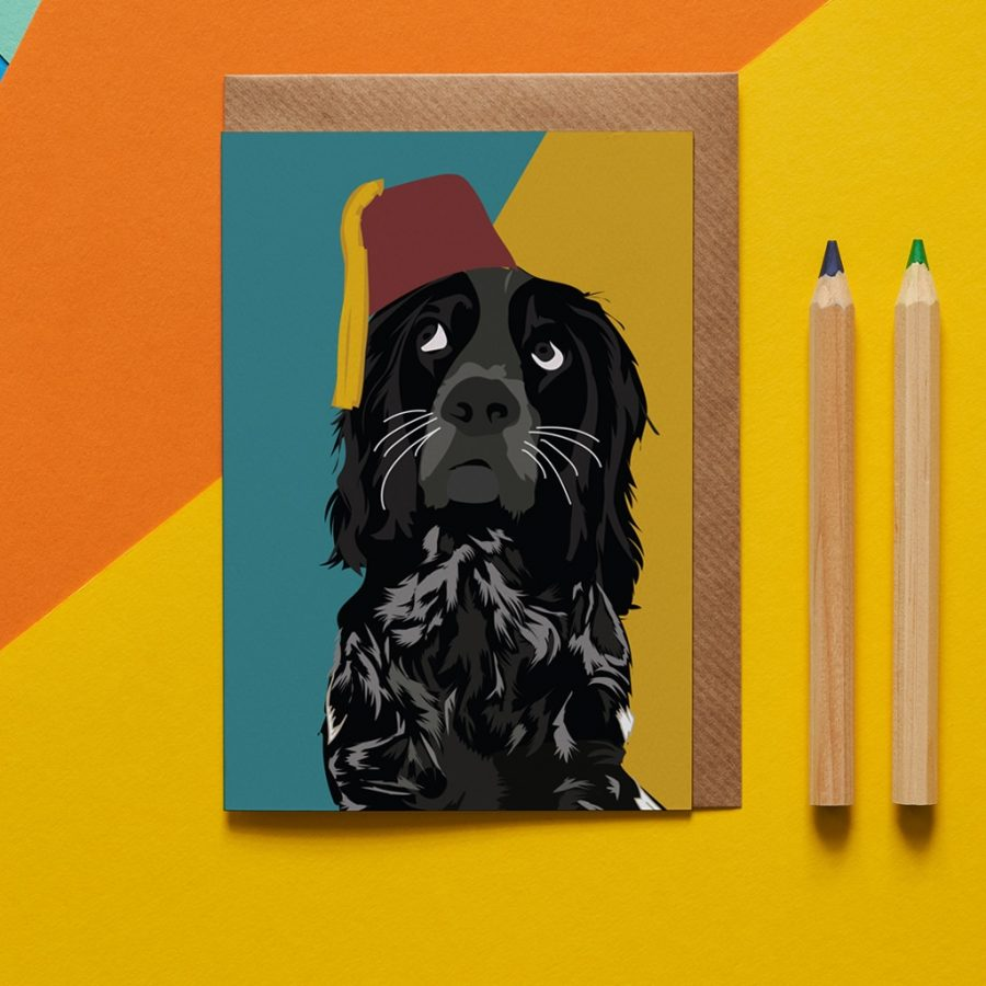 Rolf the spaniel illustration greeting card by Lorna Syson
