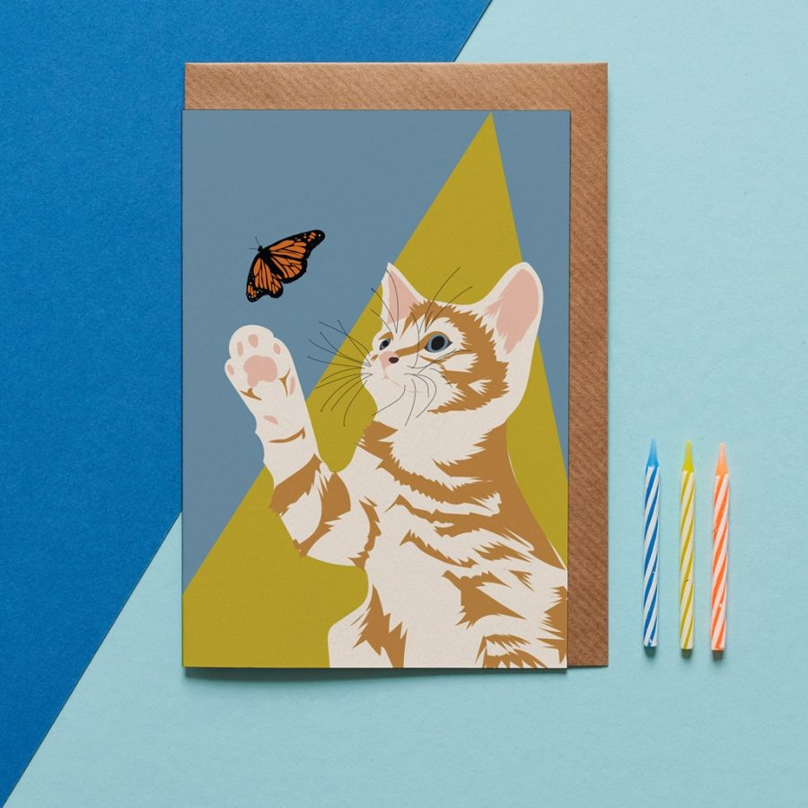 ginger the cat greeting card designed by Lorna Syson