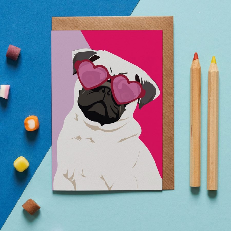 Quincy the pug illustration with pink hear sunglasses designed by Lorna Syson